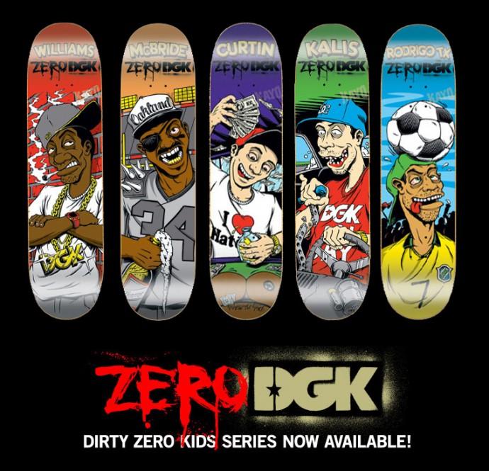 スケボー通販DGKデッキスケートボード DGKとZEROのコラボデッキ、DIRTY ZERO KIDS