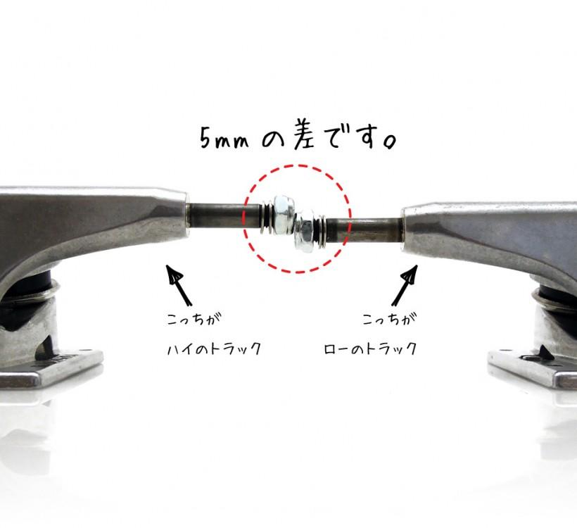 スケボー スケートボード トラック 選び方 ROYAL TRUCKS FOUR ロイヤル フォー ハイとローの高さの違い