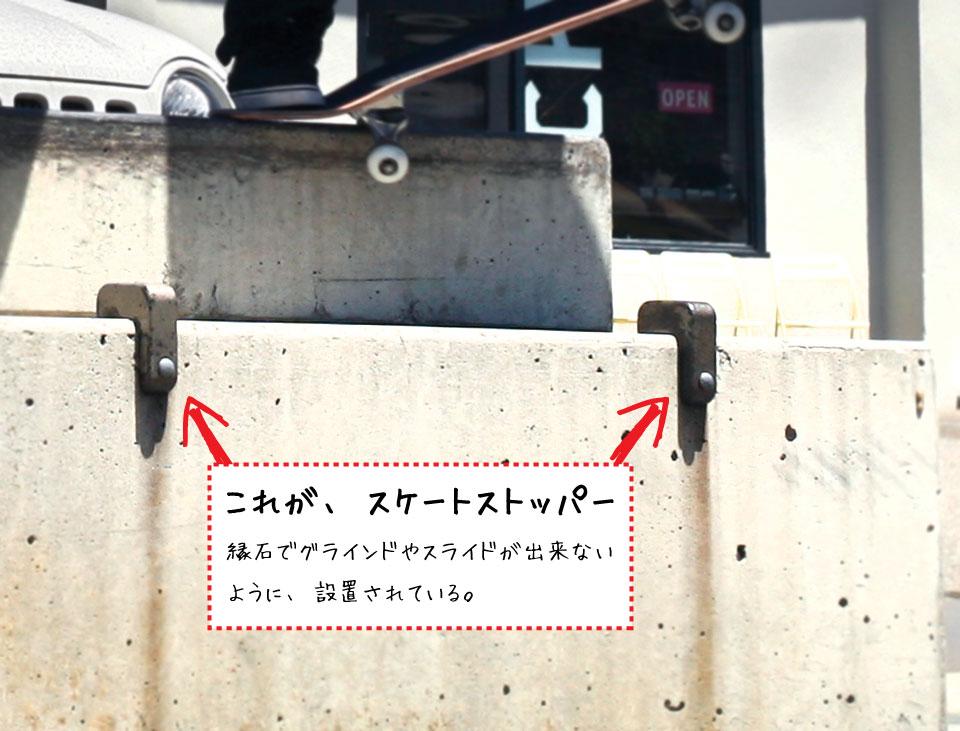 スケートストッパーは、スケーターが縁石でグラインドやスライドが出来ないように取り付けられる。